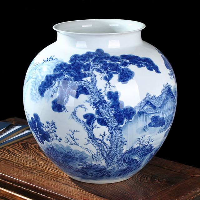 Ceramic Underglaze Blue And White Vase Landing Large Chinese Style Living Room Decor Decoration Home Furnishing