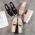 Keile Mule Frauen Plattform Ferse Schuhe Casual Karree Oxford Fashion Slide Flach Slip auf Pumpe Rosa Khaki Schwarz Zapatos mujer-in Damenpumps aus Schuhe bei