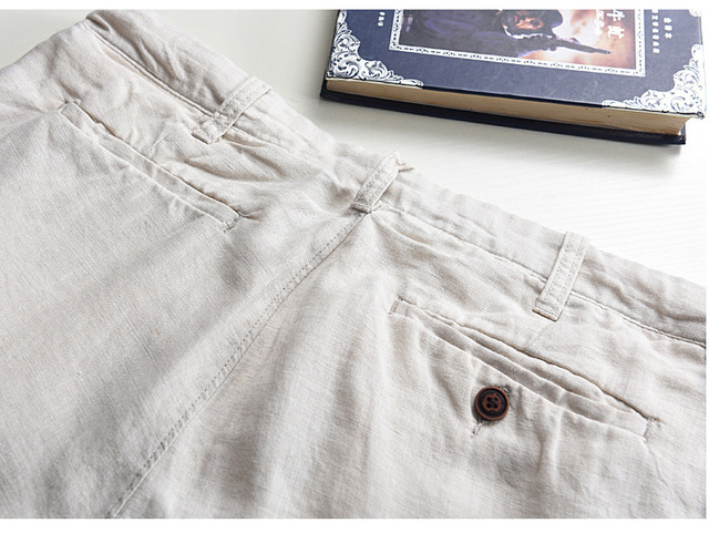 100% Linen Shorts Men Summer Short Pants 3