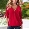 S-XL de La Moda Con Cuello En V Tops Tee Mujeres Media Manga Camisa Blusa Ocasional de La camisa Floja