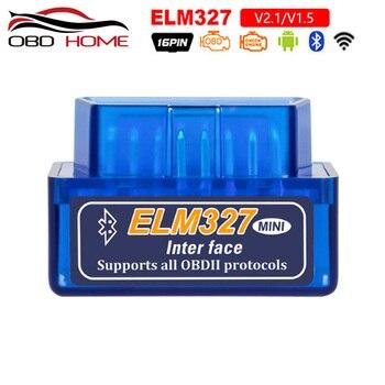 Mini ELM327 OBD2 Bluetooth V2.1 interfaz trabaja en Android par Elm 327 Bluetooth OBD2/OBD II escáner de diagnóstico de coche