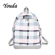Youda 2019 New Girl Plaid Backpack Lady Fashion Travel Backpacks Simple College Style Shoulder Bag Female Student Schoolbag