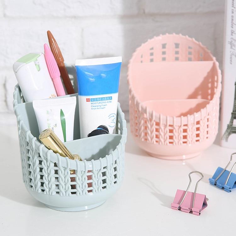 New Office Organizer Desktop Pen Storage Box Pencil Brush Pot Pen Holder Makeup Brush Plastic Container Sundries Desk Organizer