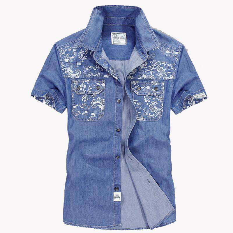 Brand Men Jeans Shirt Summer Casual Fashion embroidered Denim Shirt Men Turn-down Collar Cotton Short Sleeves Men Shirts 2018 ...