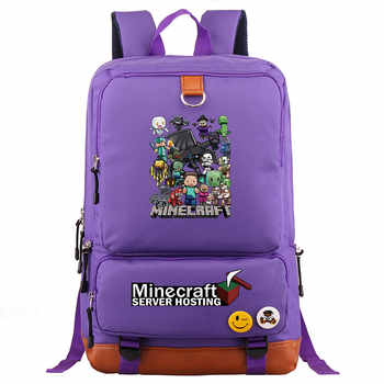 Fashion Hot Games MineCraft Cartoon Boy Girl School bag Women Bagpack Teenagers Patchwork Canvas Men Student Laptop Backpack