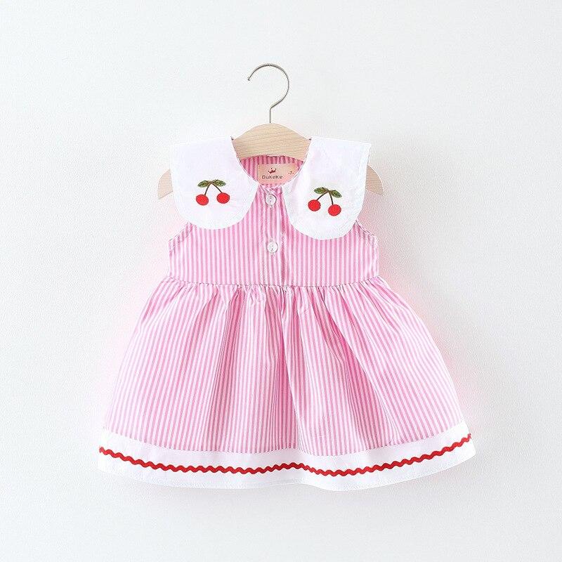 Vestido Infantil Striped Cotton Casual Sleeveless Regular Sale Baby Dress 2018 New Summer Girl Baby Infant Cherry Collar