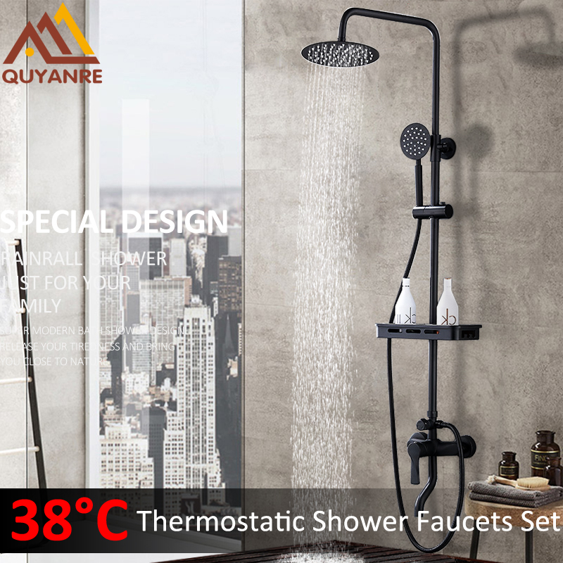Quyanre Black ORB Thermostatic Shower Faucets Set Rain Shower Commodity Shelf Dual Function Spray 3 Way Mixer Tap Bath Shower quyanre antique brass shower faucets set 8 rainfall shower head commodity shelf handle mixer tap swivel tub spout bath shower