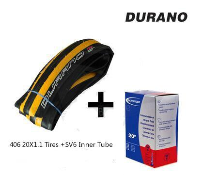 лучшая цена 20X1.1 Durano Folding Tires With SV6 Inner Tube BMX Tires 406 Folding Bike Bicycle Tires 20inch Foldable Tyre