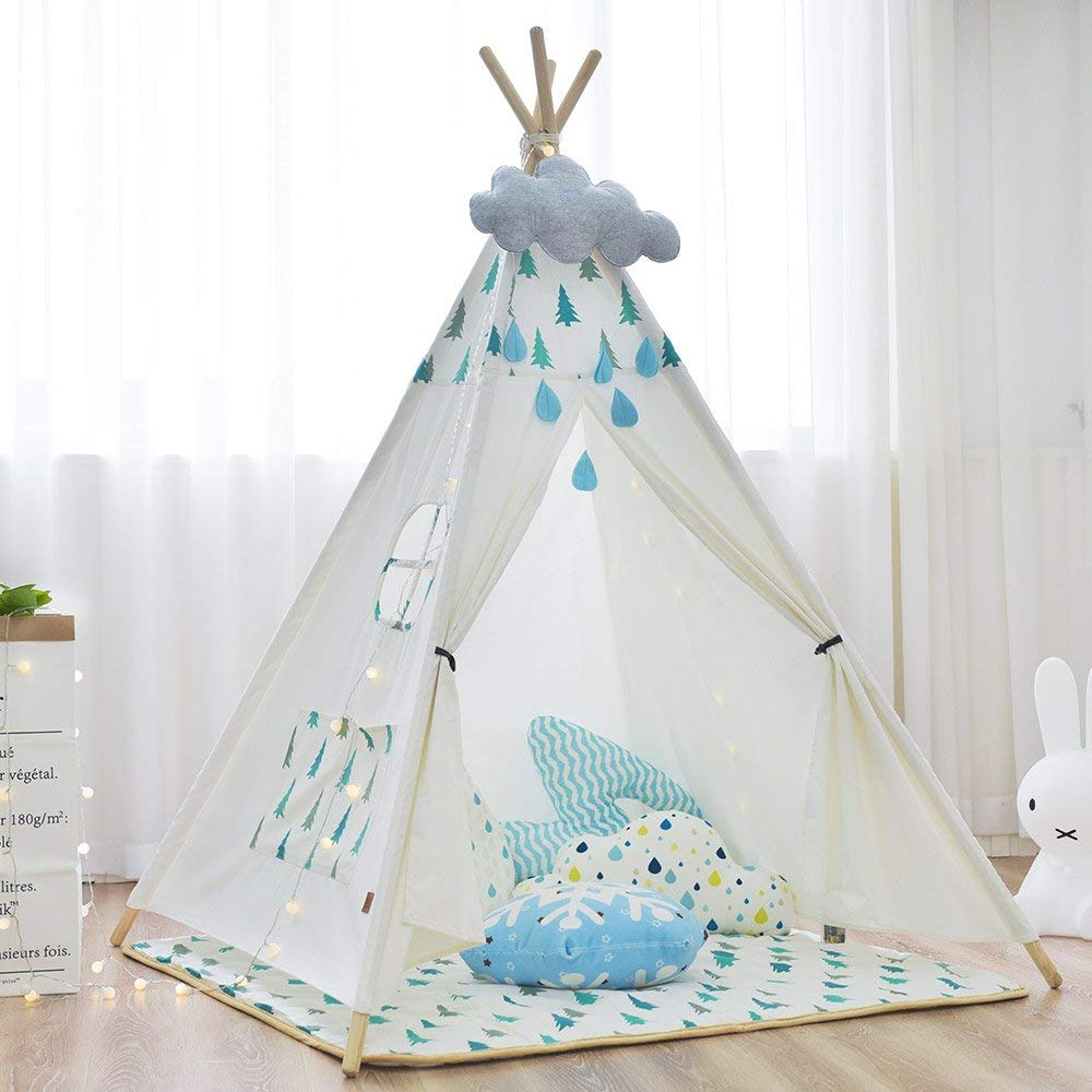 Cotton Canvas Kids Play Indian Teepee Tent Tipi Tent Wigwam Without Mat canvas dog teepee pet tipi house without cushion 24