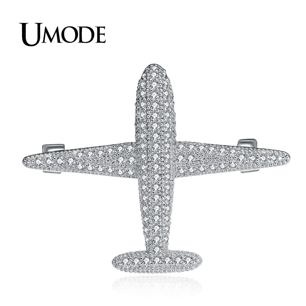 UMODE Brand Airplane Brooch and Pins for Women White Gold Color Metal Brooches Aircraft Model Jewelry Suit Clothes Clips AUX0012 image