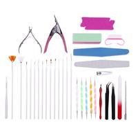 33Pcs Set DIY Nail Art Manicure Tool Kits Drawing Carving Dotting Pens Nail Scissors Sanding Files