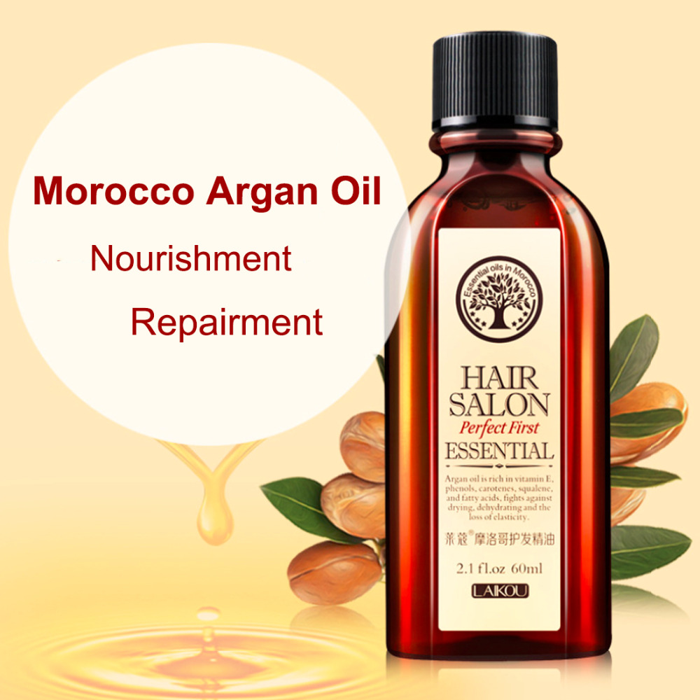 Top 60ml Morocco Argan Oil Haircare Essential Oil Nourish Scalp Repair Dry Damage Hair Treatment Glycerol Nut Oil Hairdressing
