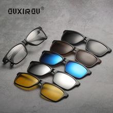 Eyeglasses Frames Men Women (5 lens) Clip On tr90 Sunglasses Polarized Magnetic Glasses Male Driving Night Vision T2215