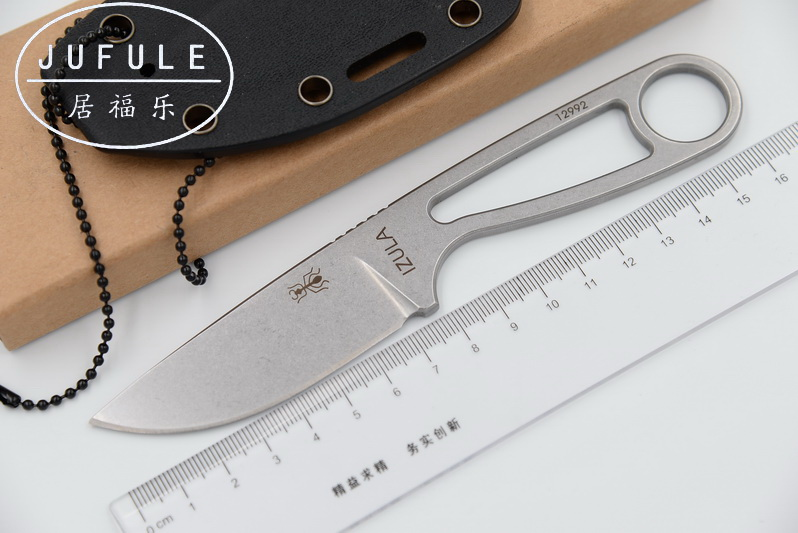 JUFULE Ant IZULA 12992 Fixed Blade Knife Rowen D2 Blade Steel Tactical Camping Survival Straight Pocket Knives Outdoor Tools EDC