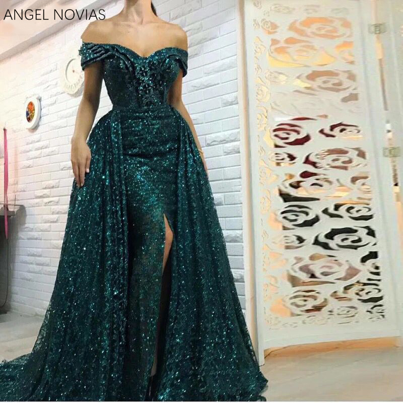 b8da239a20553 Long Green Glitter Mermaid Women Arabic Evening Dress 2018 Dubai wedding  long dress evening vestido longo