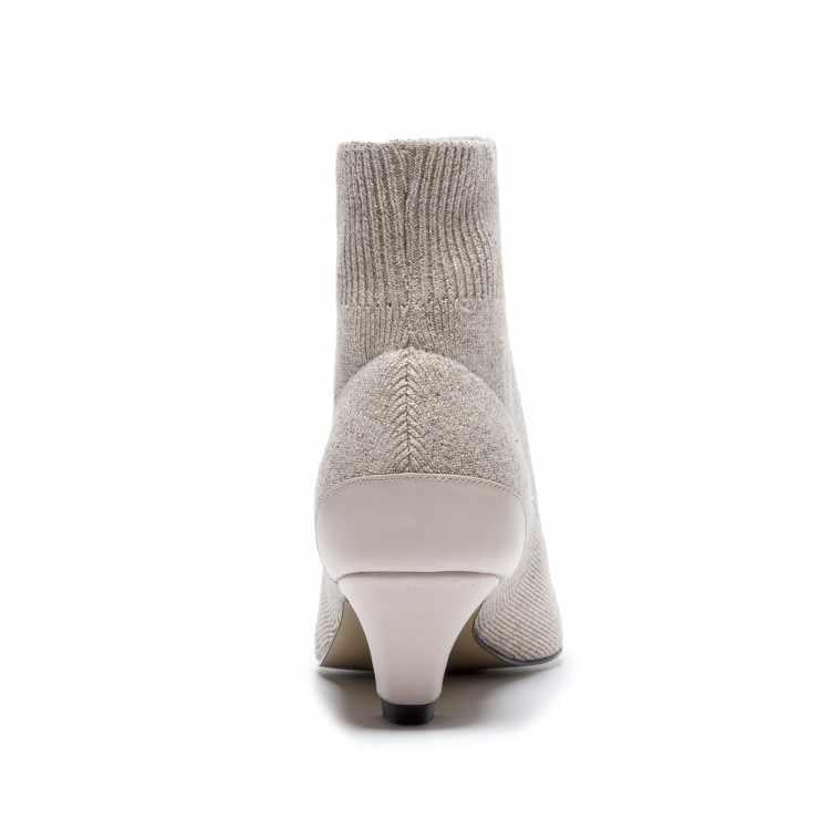 MLJUESE 2019 kadın yarım çizmeler Inek deri + Örgü siyah renk sonbahar bahar botları başak topuk düşük topuklu kadın çorap botları