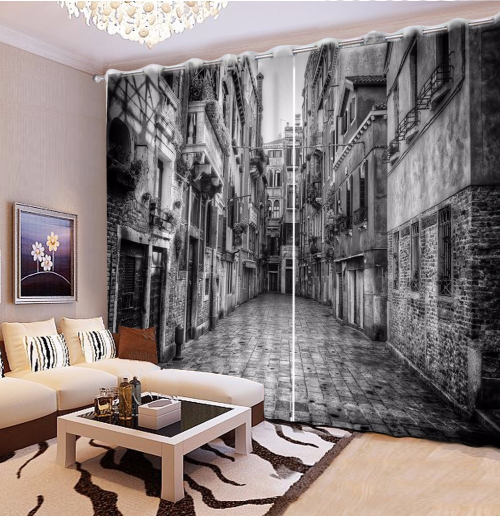 High Quality Thickness Curtains For Living Room Bedroom Black And White 3D Retro City Building Drapes Cotinas Para Sale