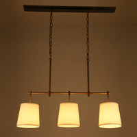 American Country Style Modern French Antique Copper Pendant Light Vintage Iron Cloth Cover Light Bar Restaurant