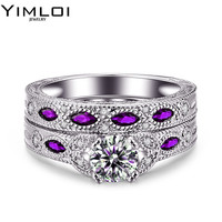 Female Male Luxury Jewelry Engagement Ring Green Zircon Cz 925 Sterling Silver Color Wedding Band Ring