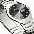 Silver Woman Dress Watches Silver Date Hour Couple Quartz Wrist Watch Classic Design Casual Clock Waterproof Lady's Watches