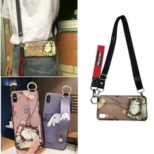 cute rabbit cat shoulder strap silicon case for iphone XS MAX XR 7 8 6 6S Plus fashion wristband holder soft phone bag capa fund