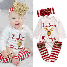 3pcs!!Newborn Infant Baby Girl Long Sleeve Deer Romper+Striped Leg Warmer+Bownot Headband Outfit Set Xmas Clothes