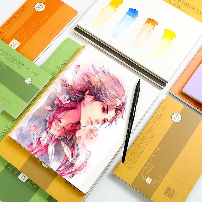 300G/M2 Professionele Aquarel Papier 20 Vellen 100% Katoen Handgeschilderde Water Kleur Schilderen Boek Kantoor School art Supplies