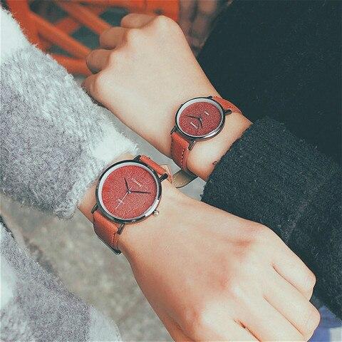 Ulzzang Women Dress Watches Luxury Lovers Couple Watches Simple Waterproof Ladies Men Leather Quartz Watch Clock Montre Homme Karachi