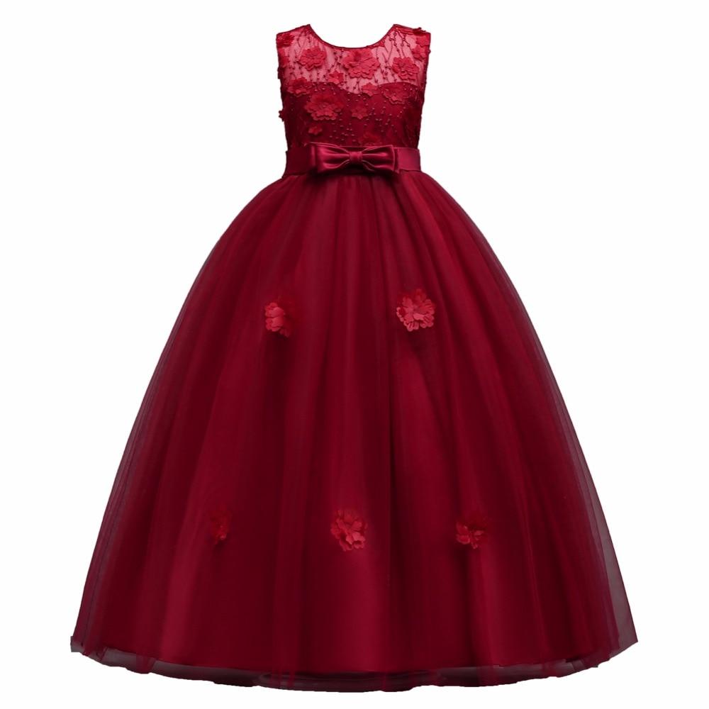 2018 New 2-14 Year Kids Girls Wedding Flower Dress Elegant Princess Party Pageant Formal Dress Sleeveless Lace Flower Long Dress flower girls princess dress new year