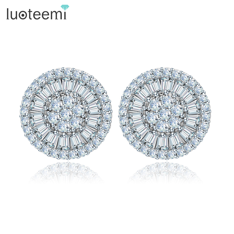 LUOTEEMI Noble Romantic Jewelry Bright Unique Round Shape Cubic Zircon Wedding Stud Earrings for Women Party Factory Wholesale