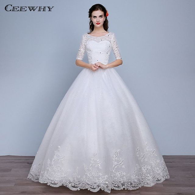 CEEWHY Sexy Backless O Neck Half Sleeve Lace Wedding Dresses Ball Gown Vintage