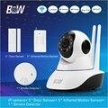 Оборудование монитор Камеры ВИДЕОНАБЛЮДЕНИЯ IP + 3 Датчик Двери + 3 Инфракрасный P2P Motion Sensor + Детектор Дыма Сигнализации Безопасности камера Wi-Fi BW02D