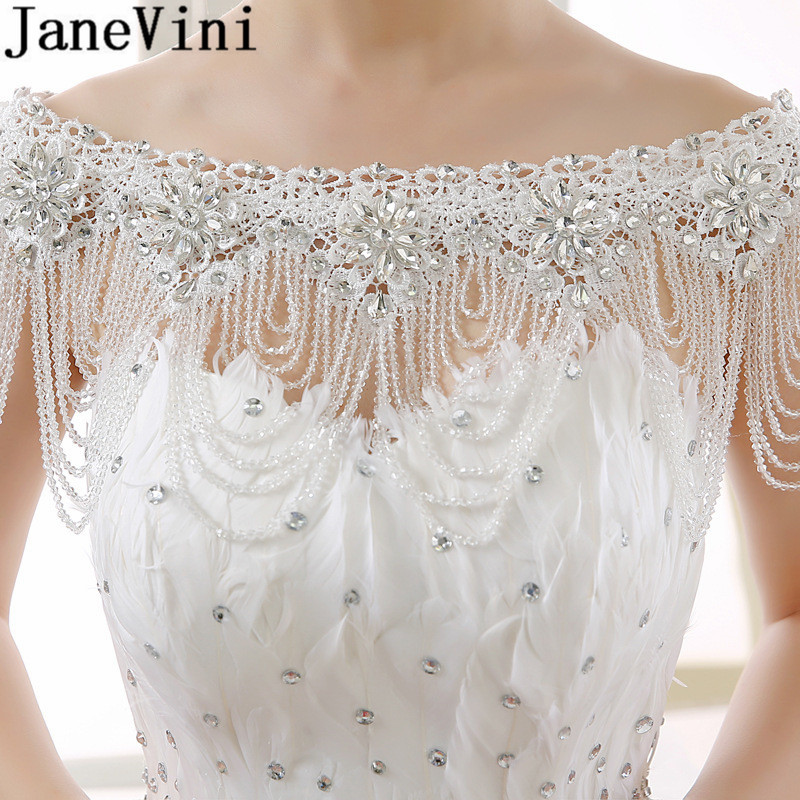 JaneVini 2018 Lace Crystal Tassel Collar Shoulder Chain Wedding Bridal Jewelry Necklace Rhinestone Beaded Flower Necklace Women