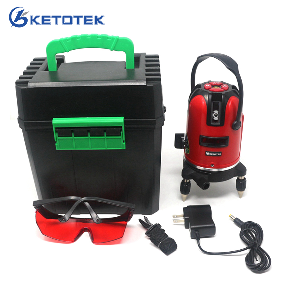 Laser Level 5 Lines 6 Points 360 Rotary Self Leveling 635nm Red Horizontal Vertical Cross line Lazer Level Tools for Outdoor