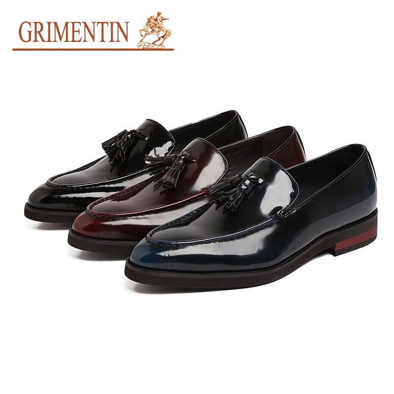 Quaste Hochzeit Heißer Echtem Grimentin Leder Slip brown blue Männer Schwarz Italienische Braun Für Auf Schuhe Mode Verkauf 2019 Männlich Aus Black xwxqS17pI