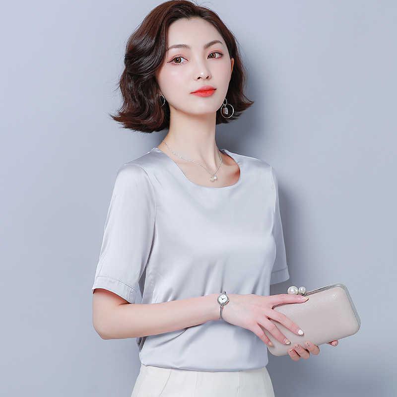 Koreański moda jedwabiu kobiety bluzki satynowe różowe koszule damskie Plus rozmiar XXXL/4XL Blusas Femininas Elegante damskie topy