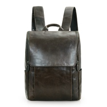 JMD New Arrival Genuine Cow Leather Mens Laptop Backpack Gray Color School Bag 7344J