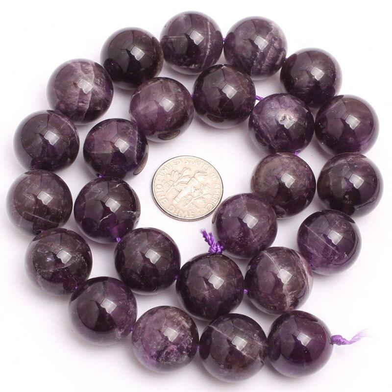 Круглые бусины фиолетового кружевного аметиста, незакрепленные бусины из натурального камня для изготовления ювелирных украшений, нитка 15 дюймов - Цвет: 16mm