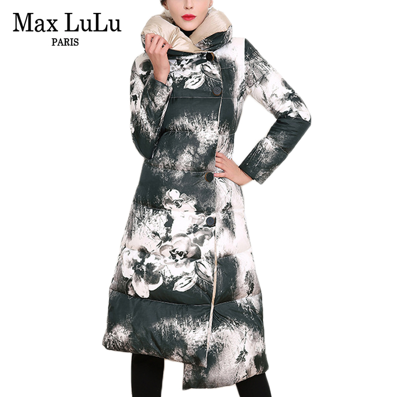 Max LuLu Fashion Chinese Style 3d Printed Womens Long Parkas Thicken Woman Quilted Jacket Ladies Winter Coat Warm Brand Clothing marina rinaldi by max mara womens plus quilted long sleeves coat