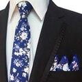 Juego de los hombres Pañuelo + Corbatas Gravatas Corbata Conjuntos de Marca Impreso Floral Delgado de La Vendimia de Bolsillo de Negocios Macho Plaza Pañuelos