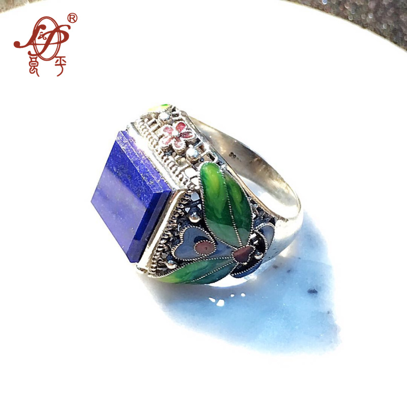 L&P Handmade Cloisonne 925 sterling silver jewelry lapis lazuli ring for women female birthday gift christmas gi