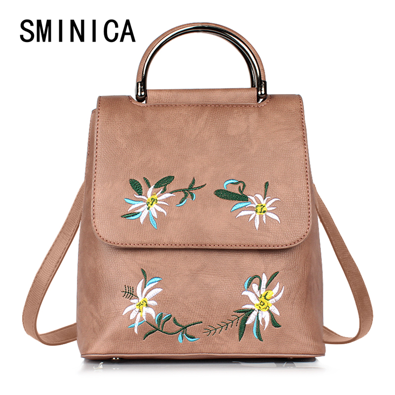 embroidery women backpack for girls Leather backpacks fashion school bag ladies Casual style small woman female vintage 1V2223