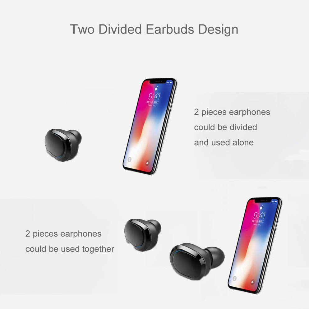 NVAHVA TWS Bluetooth Earphones Double Stereo Wireless Earbuds Bass Bluetooth V5.0 Headset Handsfree For Phones PC Pad TV Car Pad