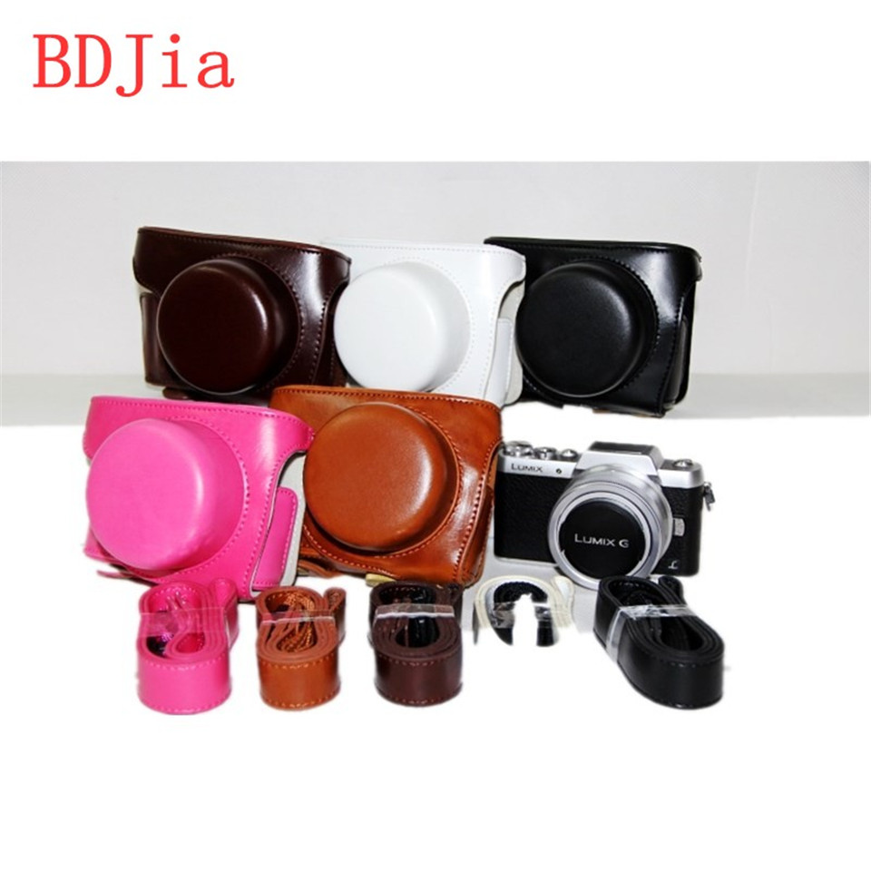 New Camera Leather Case Bag Cover For Panasonic Lumix Gf10 Gf9 Gf8 Dc Kit 12 32mm Kamera Mirrorless Black Gf7 Lens With Shoulder Strapfree Shipping In Video Bags From