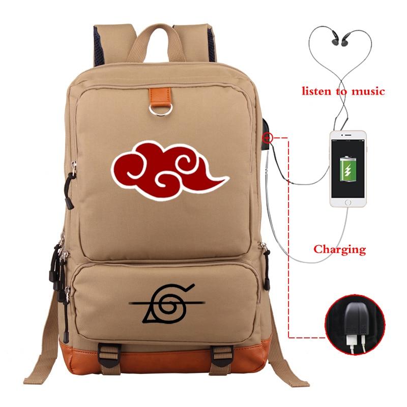 Girls Boys School Bags Large Capacity Bagpack Luminous Khaki Backpack NARUTO Anime Backpacks Travel Bag USB Charging Daypack