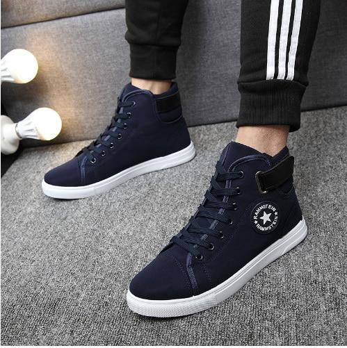 Moda Primavera Masculino Otoño Sapatos 2 Zapatos 3 2016 Piel 1 De Hombre Para Botas Calientes Casual Lona Altos Tenis BY8n0zwq