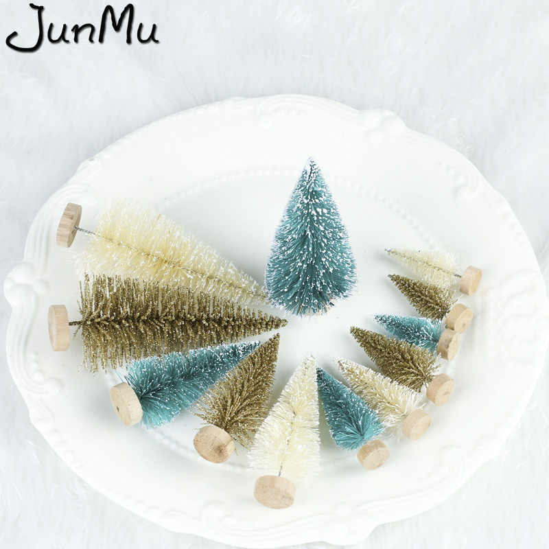 5PCS DIY Christmas Tree Small Pine Tree Mini Trees 12.5cm Placed In The Desktop Home Decor Christmas Decoration Kids Gifts