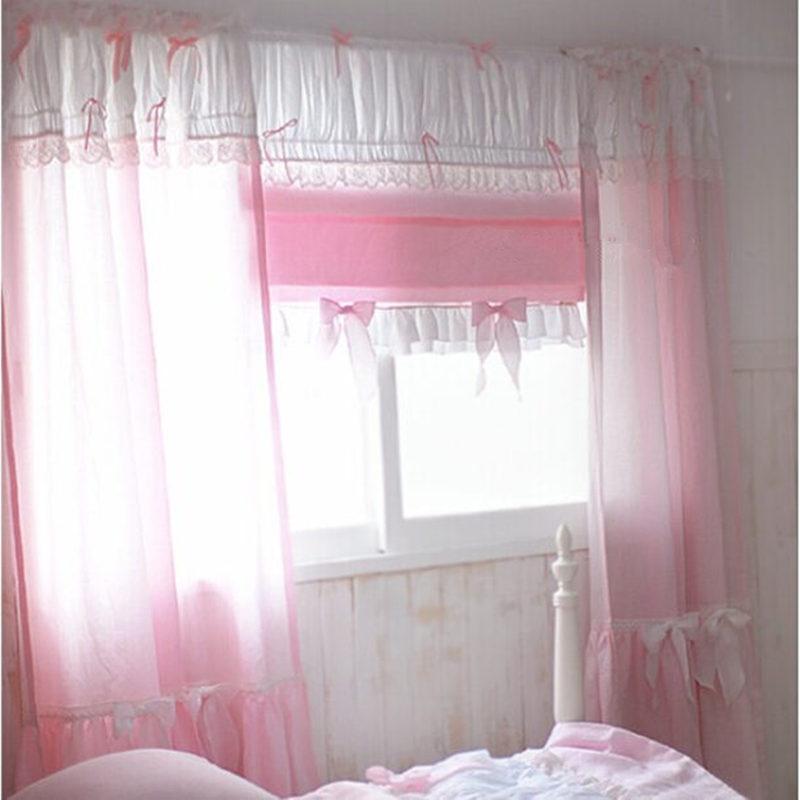 1 pièce rideau romantique princesse rose dentelle tissu rideaux pour salon fenêtre doux arc rideaux décoration de mariage cortina