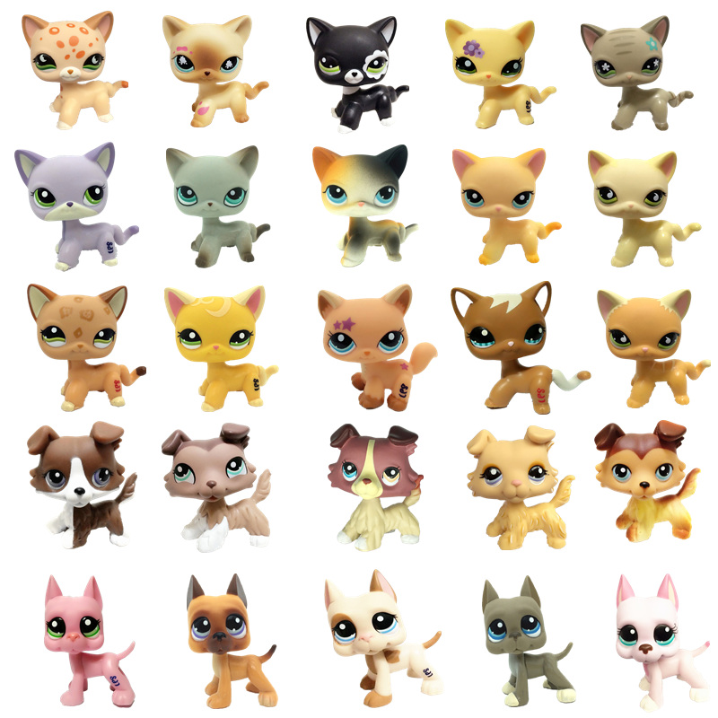 Lps Pet Shop Toy Free Shipping Black Flower Eyes Shorthair Cat Brown Great Dane Stand Action Figure 41 Style Children's Set Gift