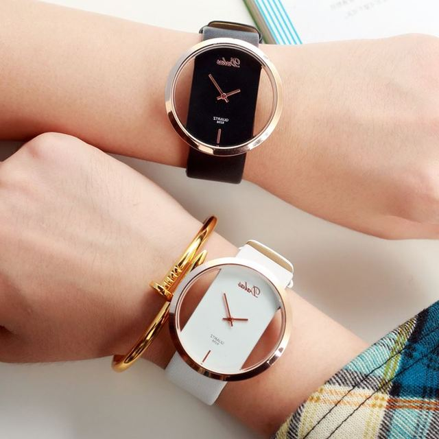 2018 Hot Sale Korean Couple Lovers Simple Atmospheric Female Watch Korea Transpa